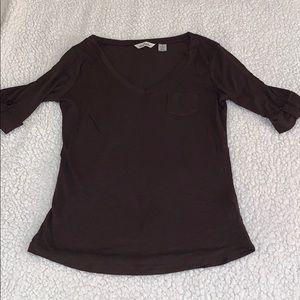 Brown Quartered Sleeve Sheer Shirt